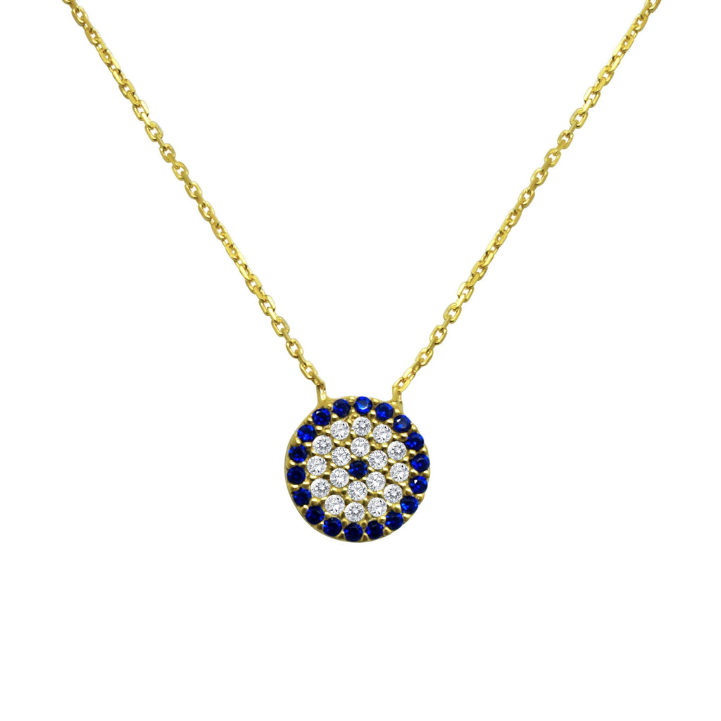 yellow gold evil eye necklace with diamonds