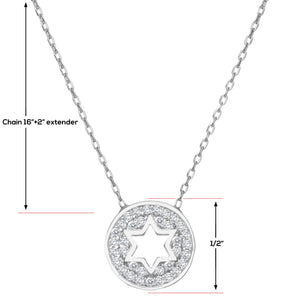Round Star of David Necklace - Alef Bet Jewelry by Paula