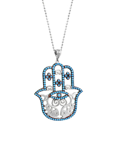 Turquoise Hamsa Necklace - Alef Bet Jewelry by Paula