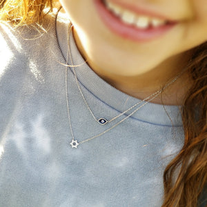 Sterling Jewish Star with CZ Necklace - Alef Bet Jewelry by Paula