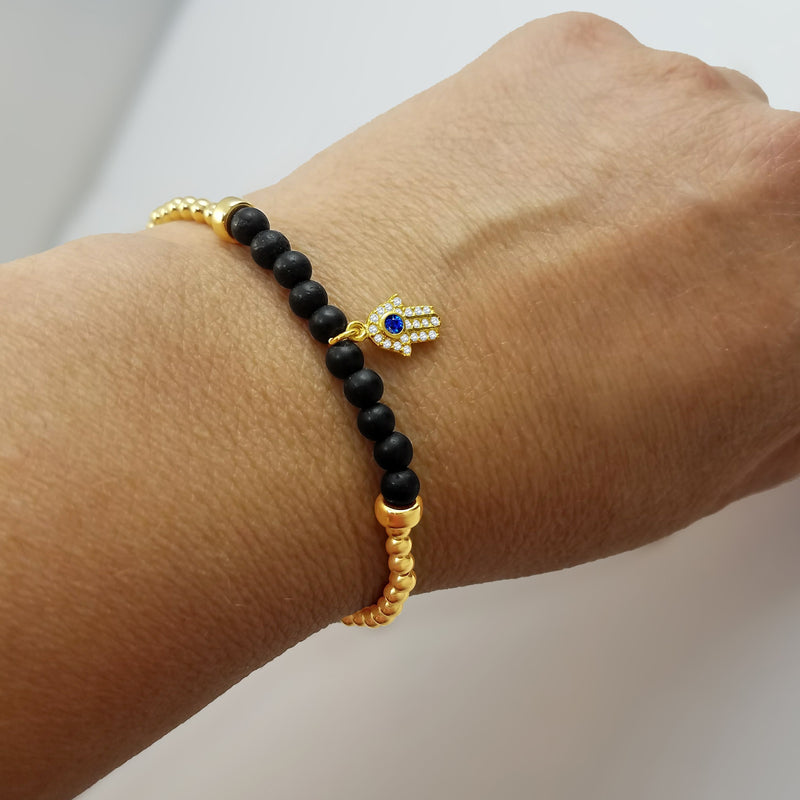 Hamsa Beaded Bracelet - Alef Bet Jewelry by Paula