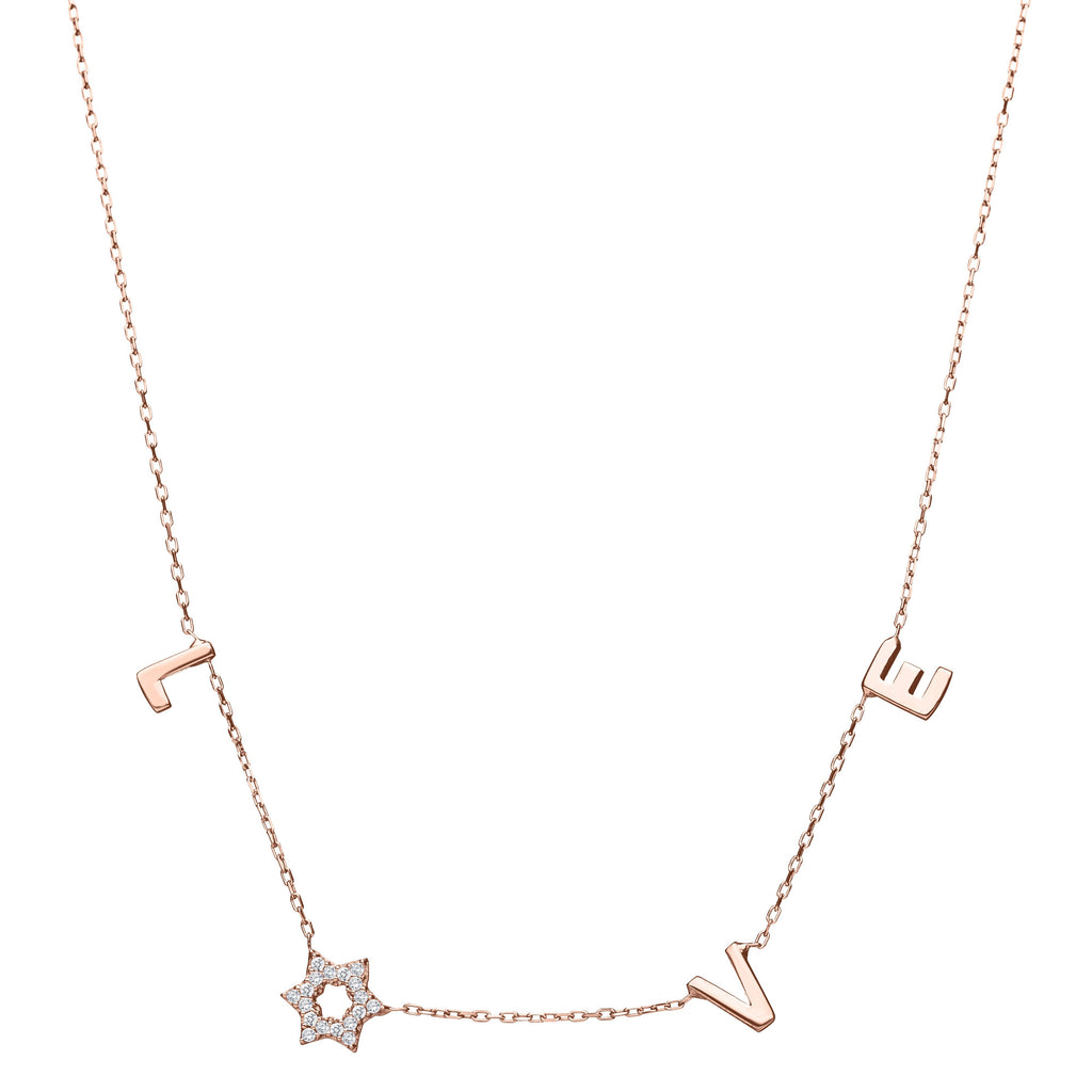 Gold Jewish Star Love Necklace in 14k Gold - Alef Bet Jewelry by Paula
