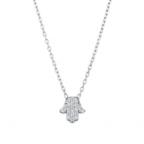 Tiny Hamsa CZ Necklace - Alef Bet Jewelry by Paula