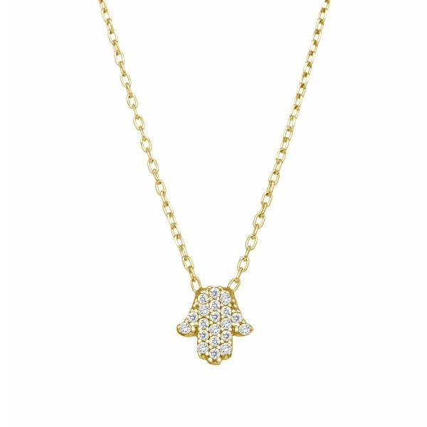 Tiny Hamsa CZ Necklace
