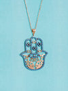 Turquoise Hamsa Necklace for luck and style