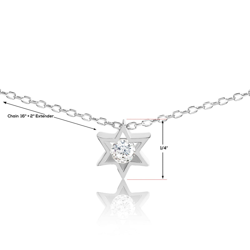 Jewish Star of David Charm With Center Sparkling Stone