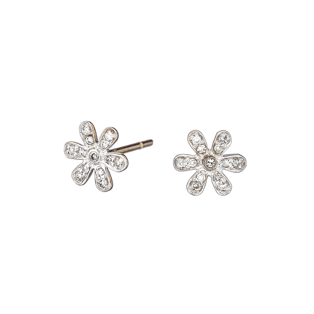 Diamond Daisy Earrings - Alef Bet Jewelry by Paula