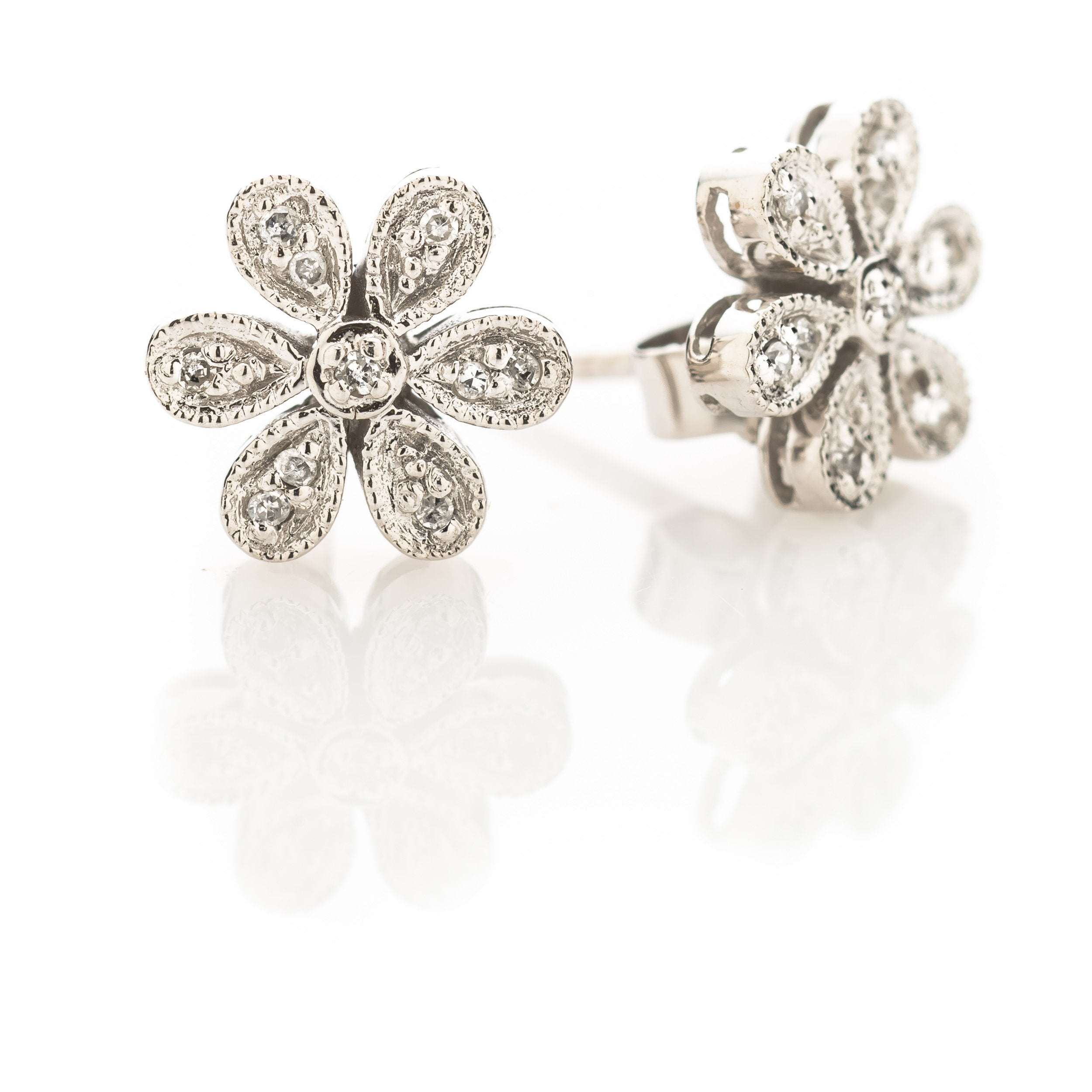 Daisy Diamond Duke Earrings - Alef Bet Jewelry by Paula