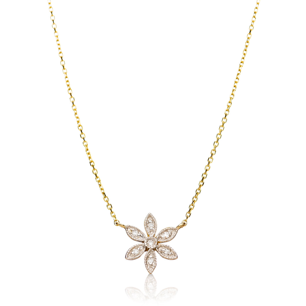 floral necklace in gold