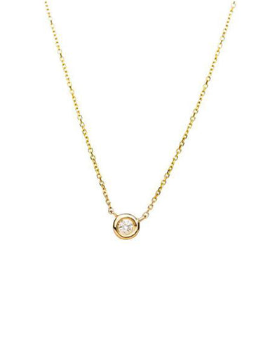 Diamond Mini Solitaire Necklace - Alef Bet Jewelry by Paula