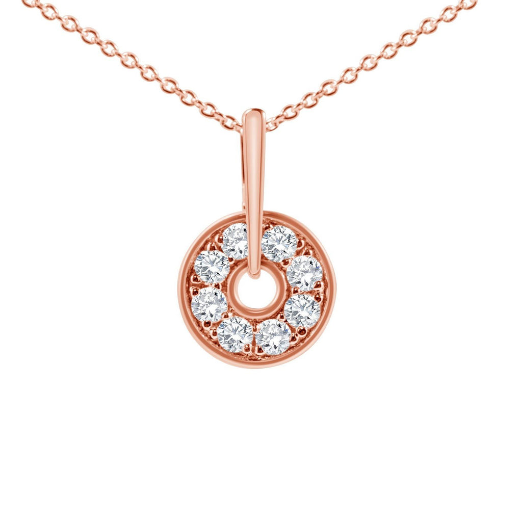 diamond rose gold circle necklace