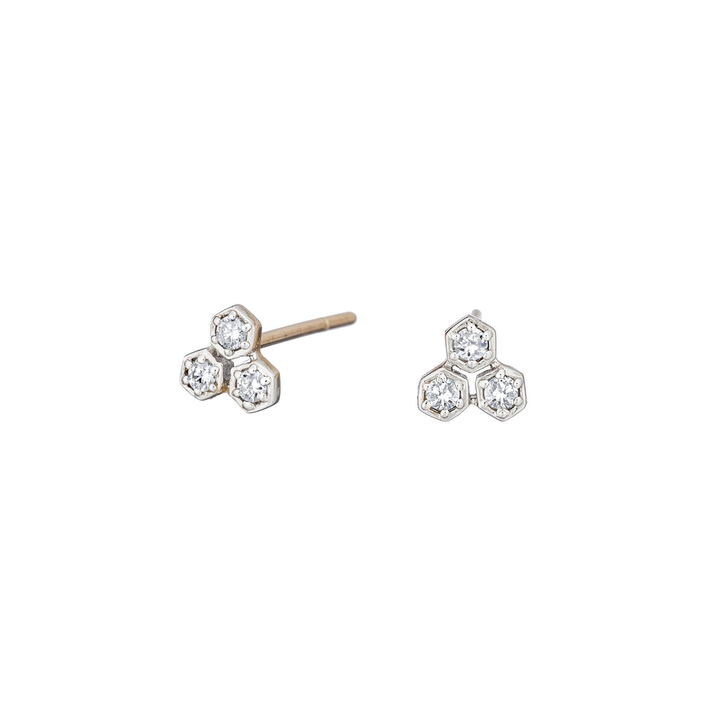 Cluster Diamond Earrings - Alef Bet Jewelry by Paula