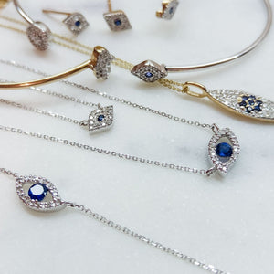 evil eye necklaces in gold and diamond