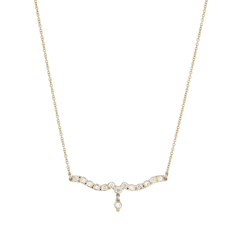 Line of Diamond Necklace in Gold - Alef Bet Jewelry by Paula