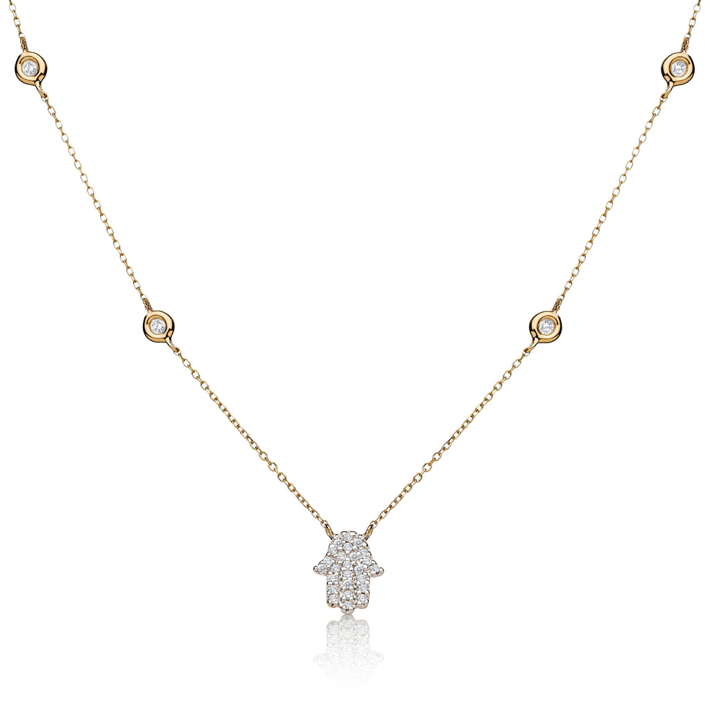 pave diamond hamsa necklace