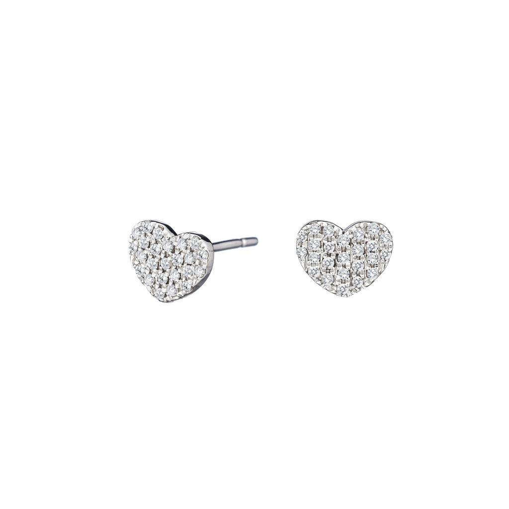 diamond heart stud earring 14k gold