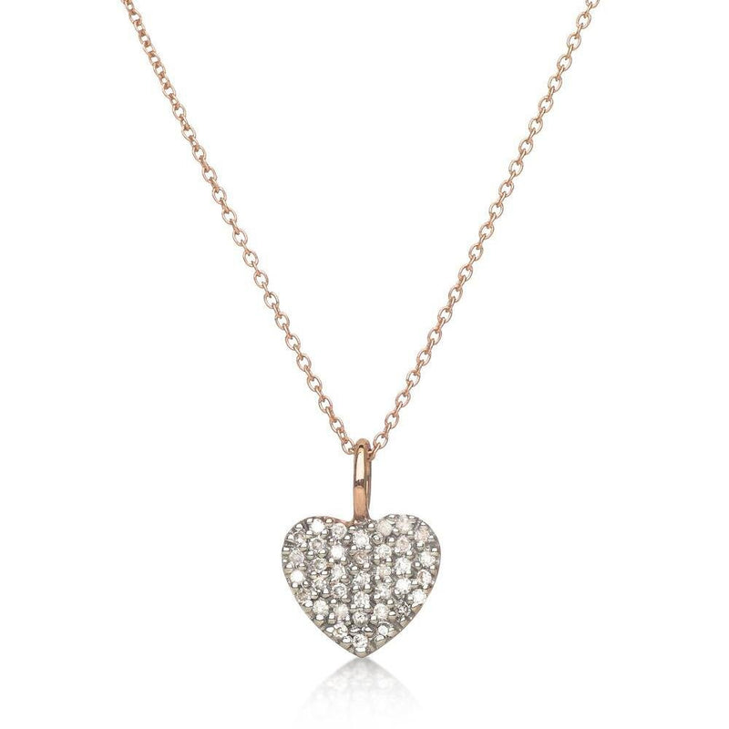 Heart Necklace in 14k Gold with Sparkling Diamonds