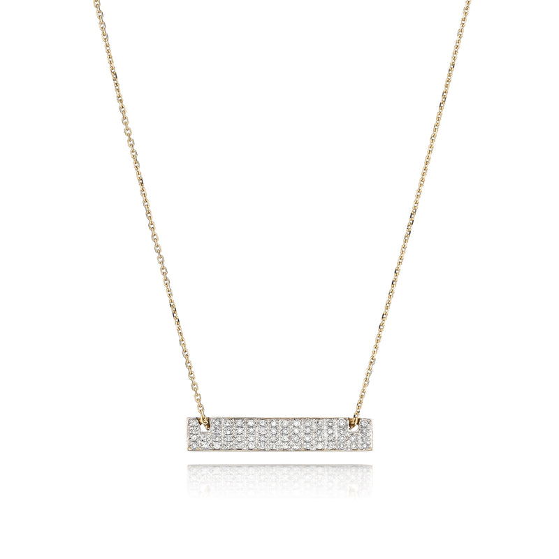 rectangle diamond bar necklace