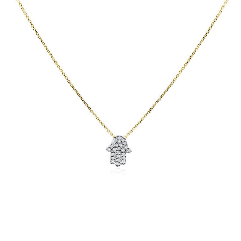 yellow gold hamsa with diamonds necklace