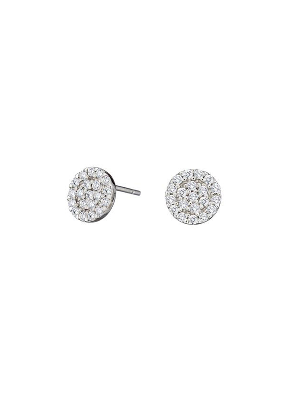 Diamond Pave Disk Earrings - Alef Bet Jewelry by Paula