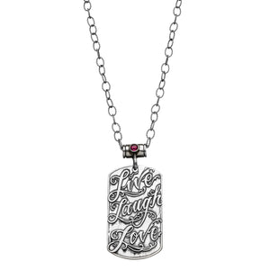 Live Laugh Love Dog Tag Necklace | Alef Bet Jewelry by Paula