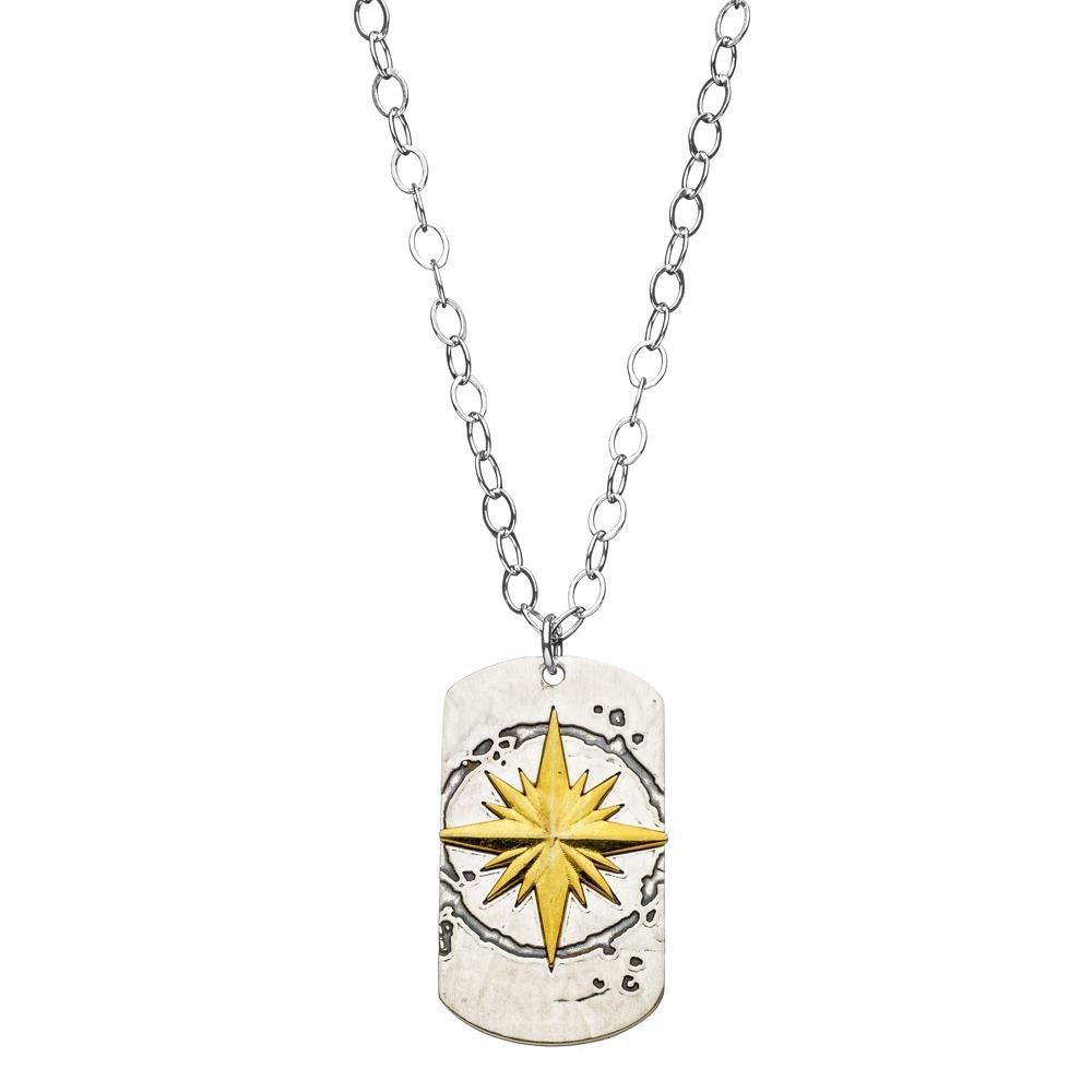 Compass Dog Tag Necklace | Alef Bet Jewelry by Paula