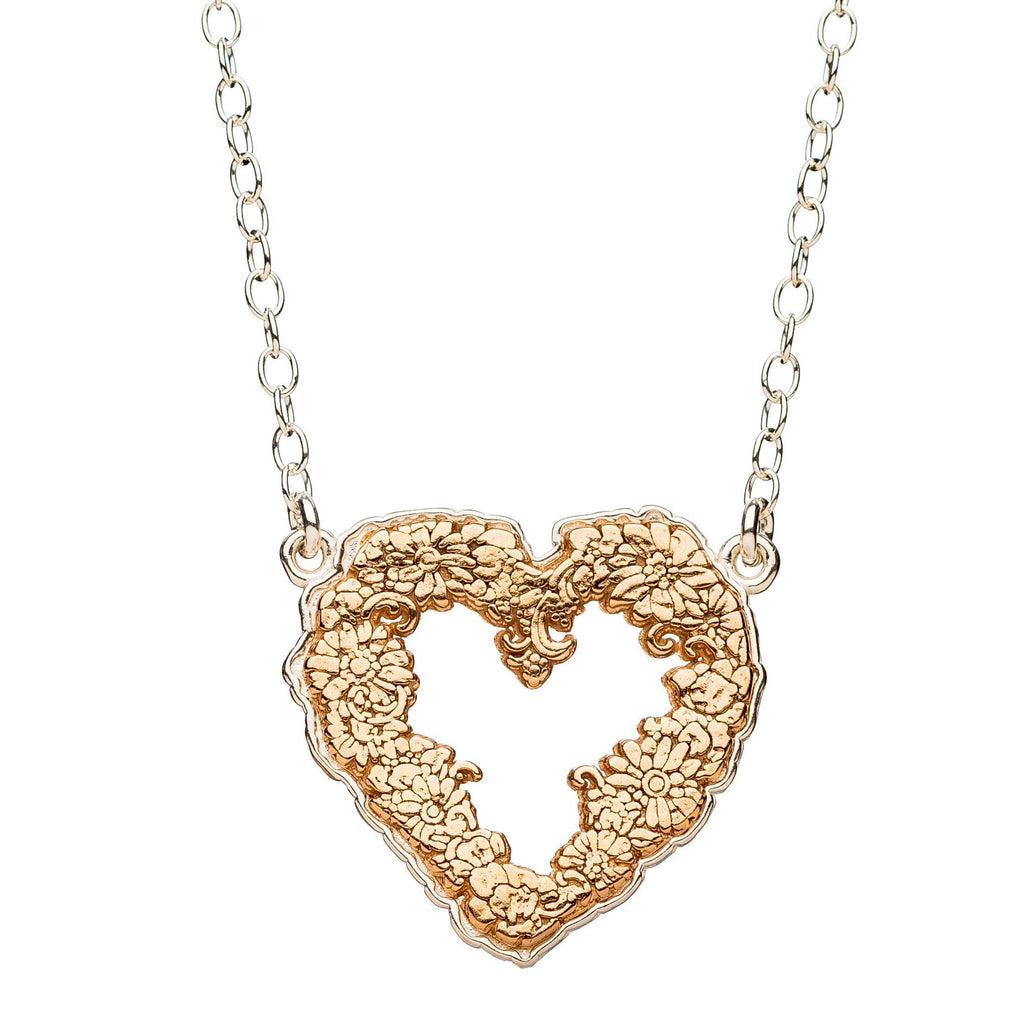 Gift Product - Floral Heart Necklace in Silver