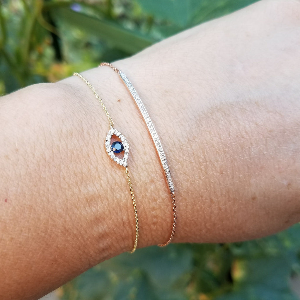 Diamond Evil Eye Bracelet - Alef Bet Jewelry by Paula