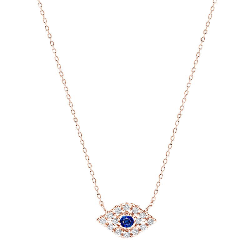 Dainty Diamond Eye Necklace in 14k Gold - Alef Bet Jewelry by Paula