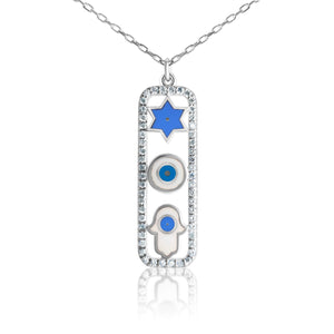 star, eye and hamsa necklace