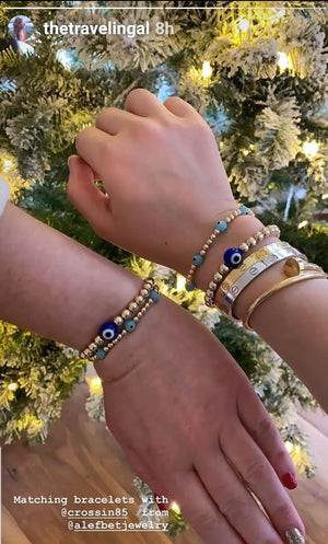matching bracelets with a daughter and an evil eye