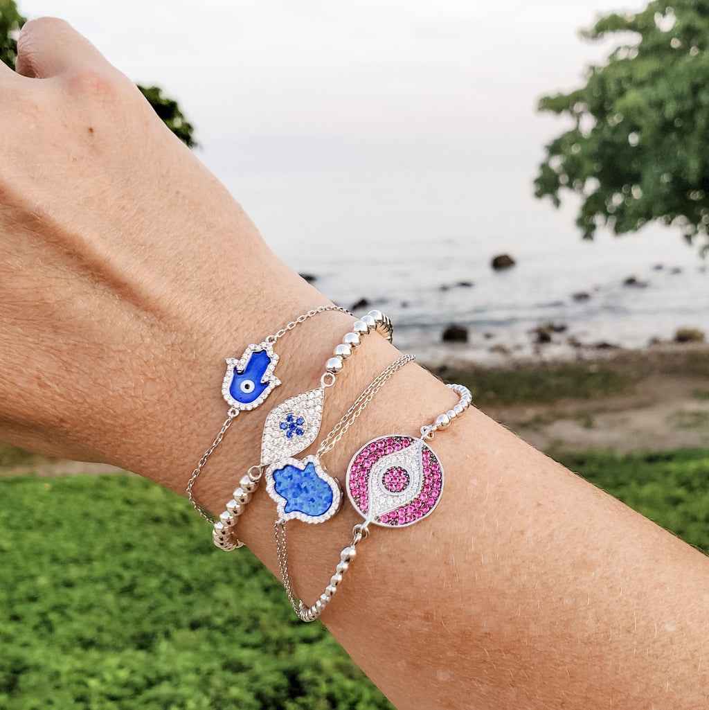 lucky blue amulet bracelet with hamsa