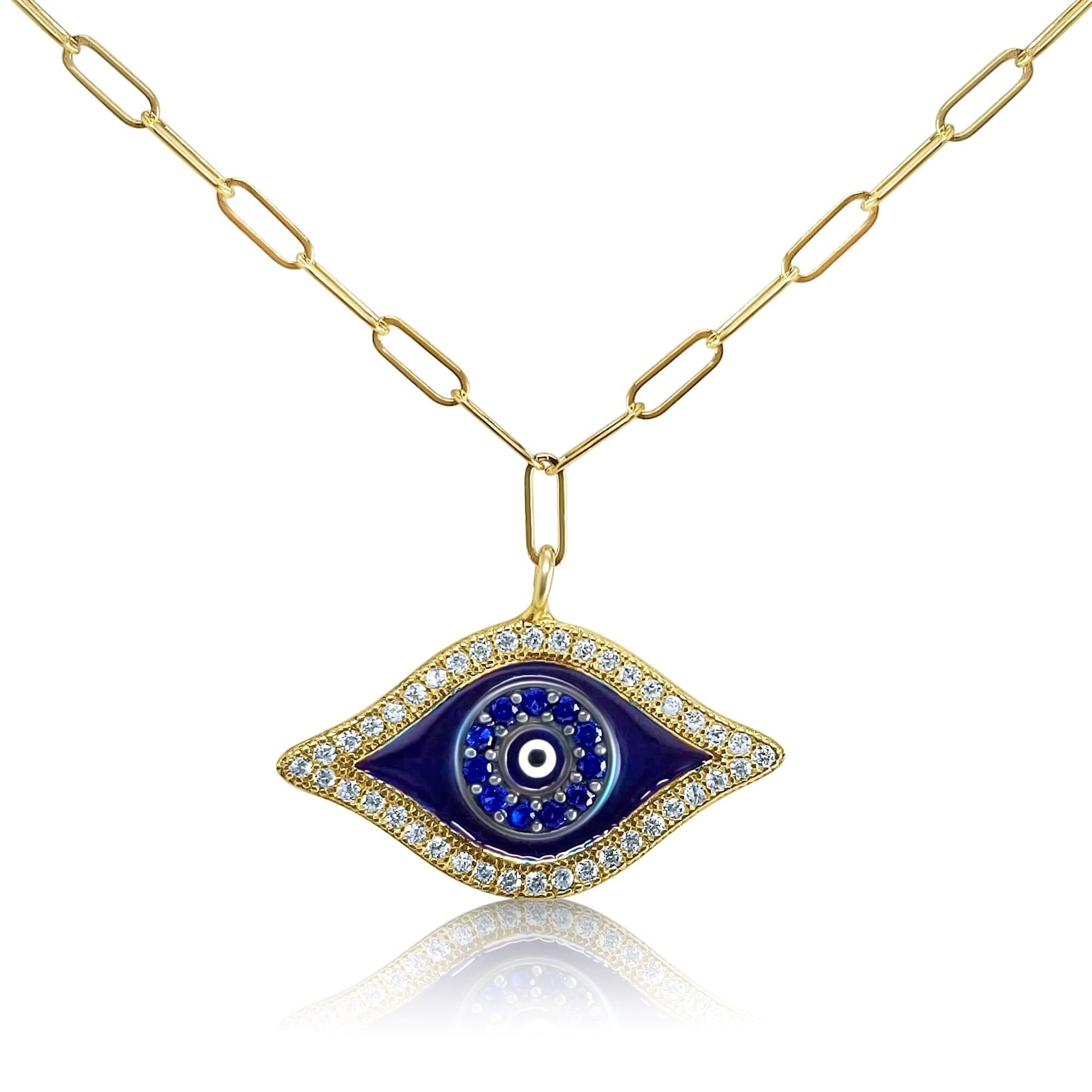 golden blue evil eye necklace