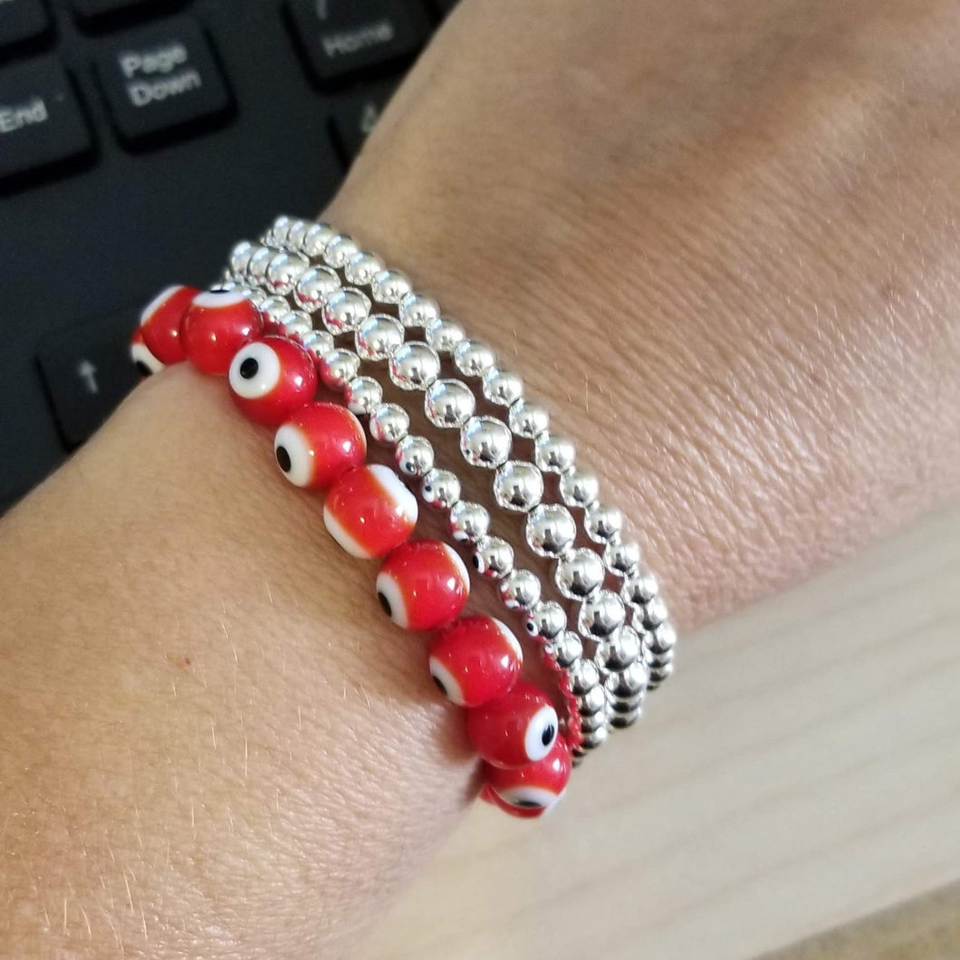 red evil eye bead bracelet