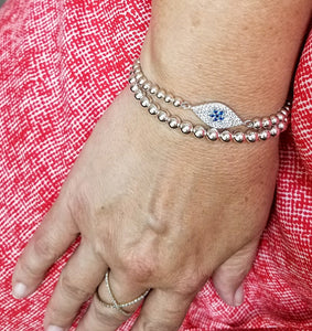Evil Eye Layering Bracelet with Beads - Alef Bet Jewelry by Paula