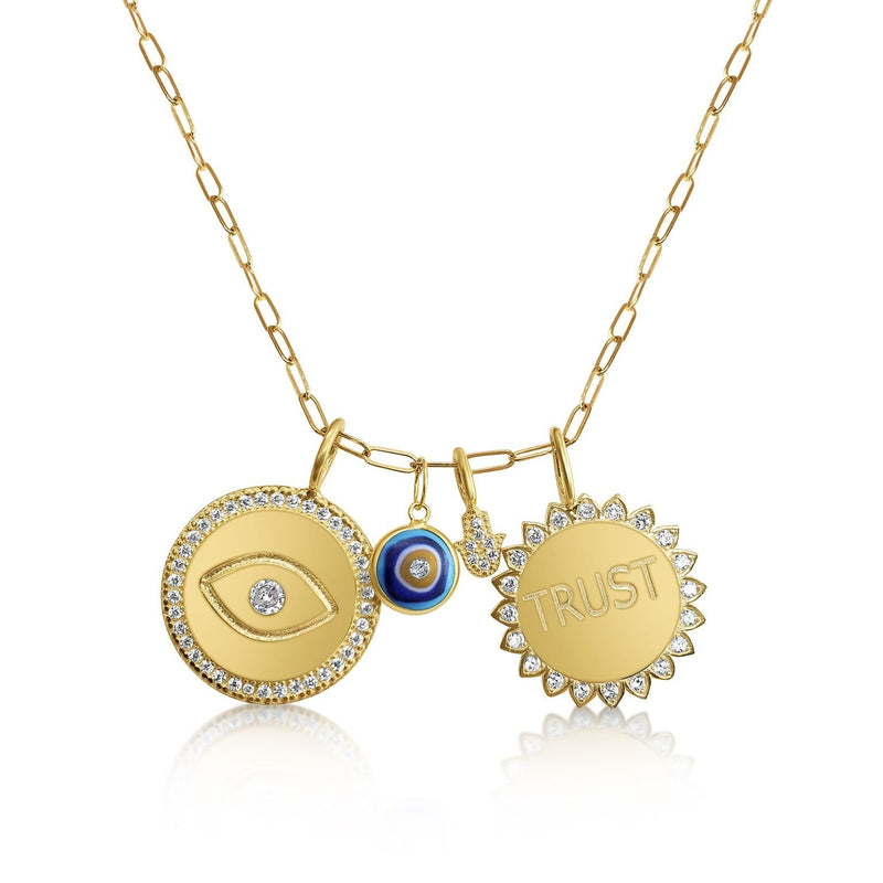hamsa and evil eye charm necklace
