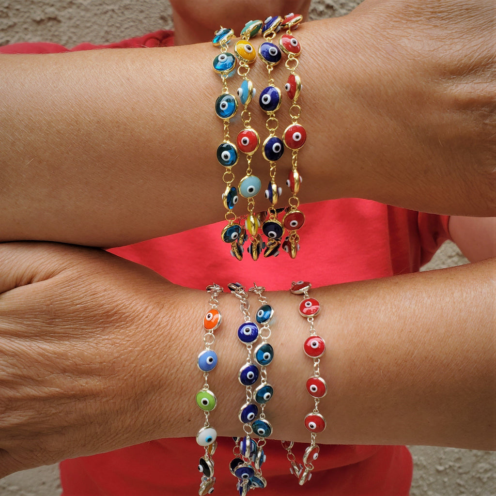 Colorful Evil Eye Bracelets in Gold and Silver