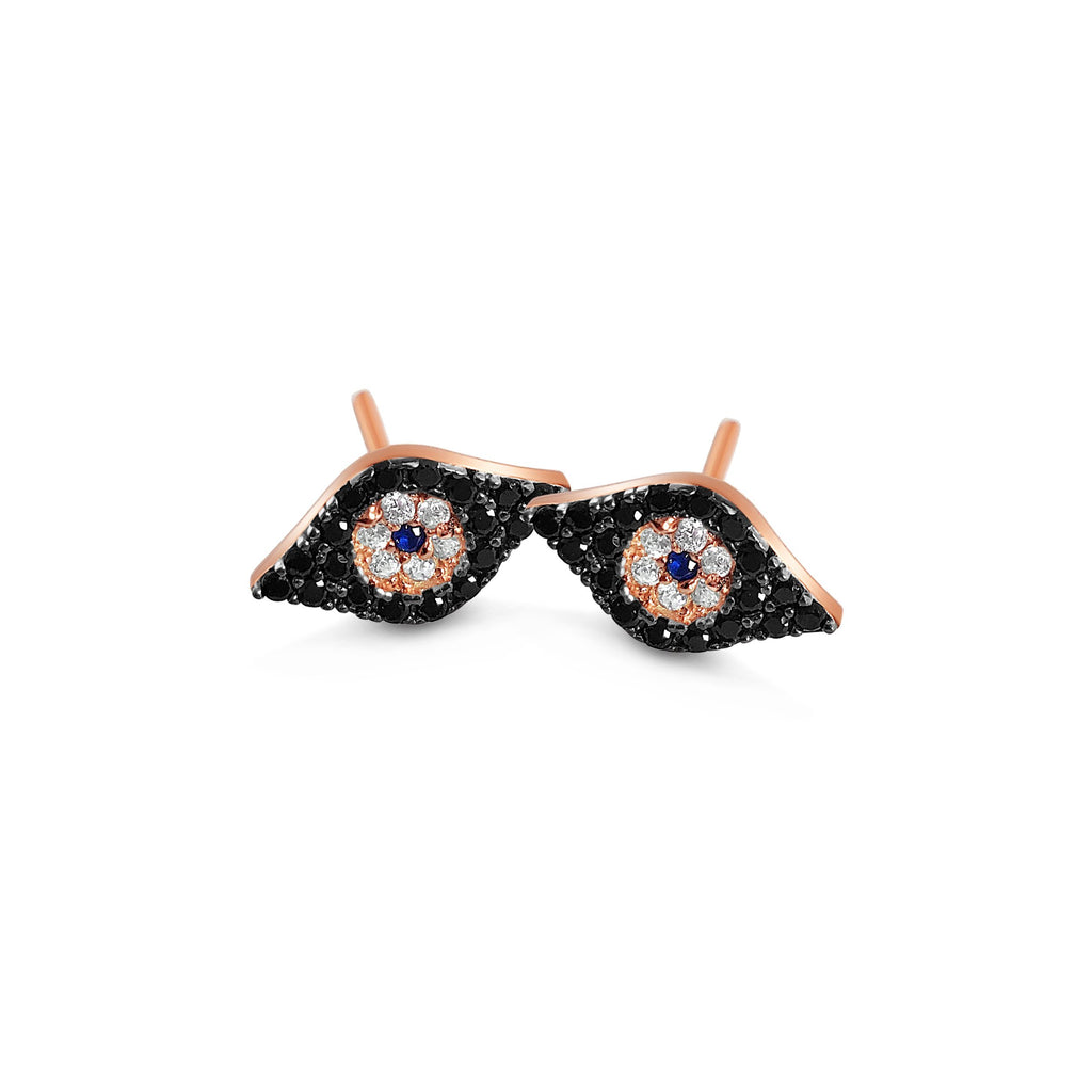 evil eye black stud earrings