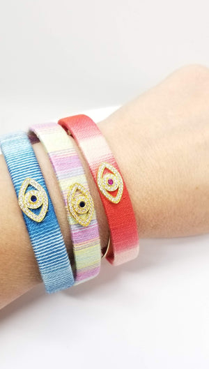 bangle bracelet colorful with evil eye