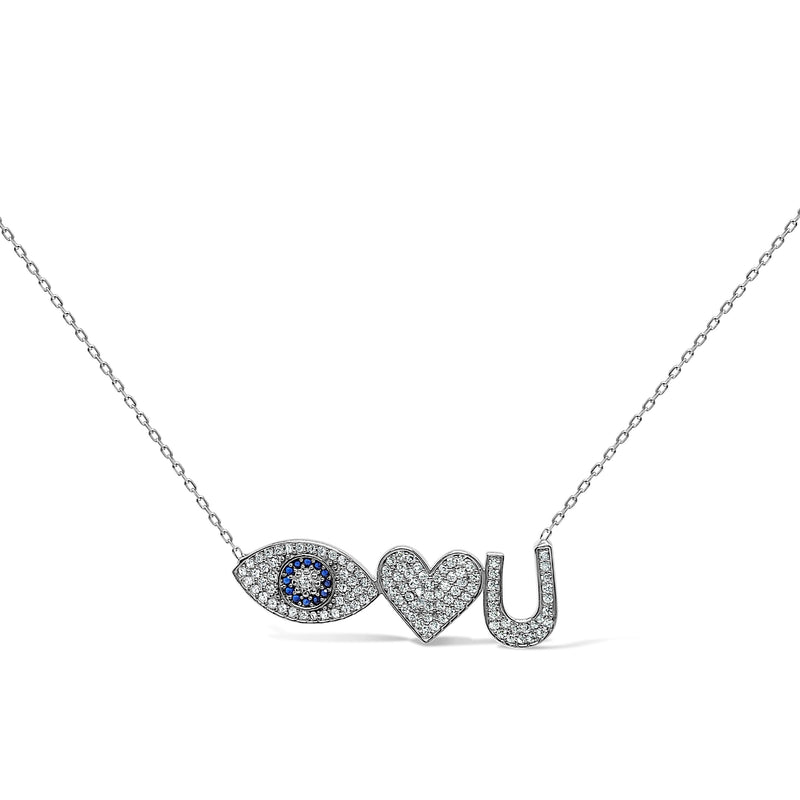 evil eye and heart necklace in silver