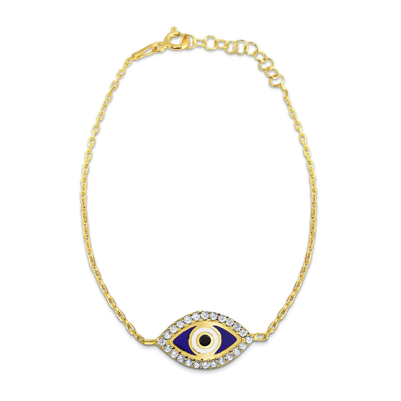 blue evil eye and gold bracelet
