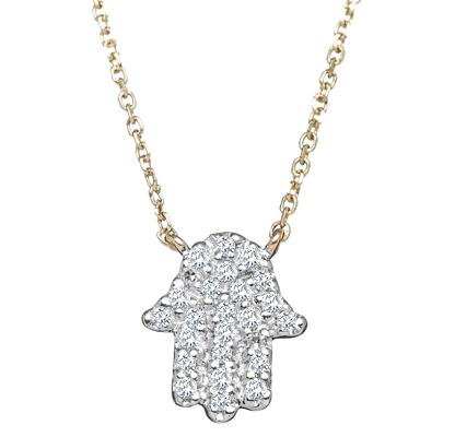 Diamond Hamsa Necklace on Chain - Alef Bet Jewelry by Paula