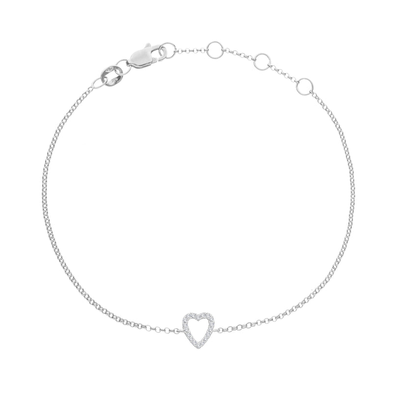 Love Heart Bracelet in 14k Gold - Alef Bet Jewelry by Paula