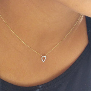 Heart and Love Diamond Pendant On a Chain - Alef Bet Jewelry by Paula