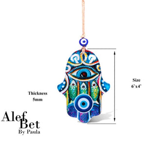 Hamsa Hand With Fish Amulet Wall Hanging and Evil Eye