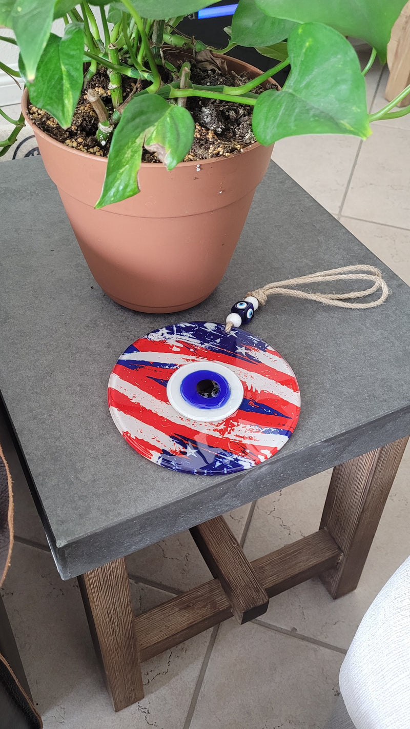 home decor with evil eye and flag