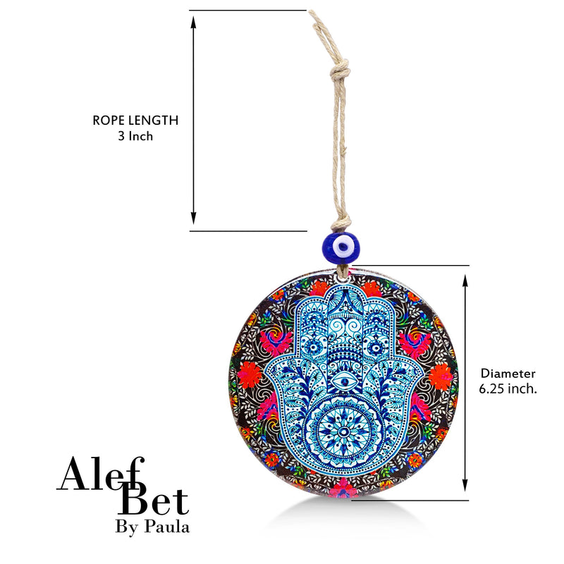 Floral Hamsa Glass Wall Hanging Ornament with Evil Eye