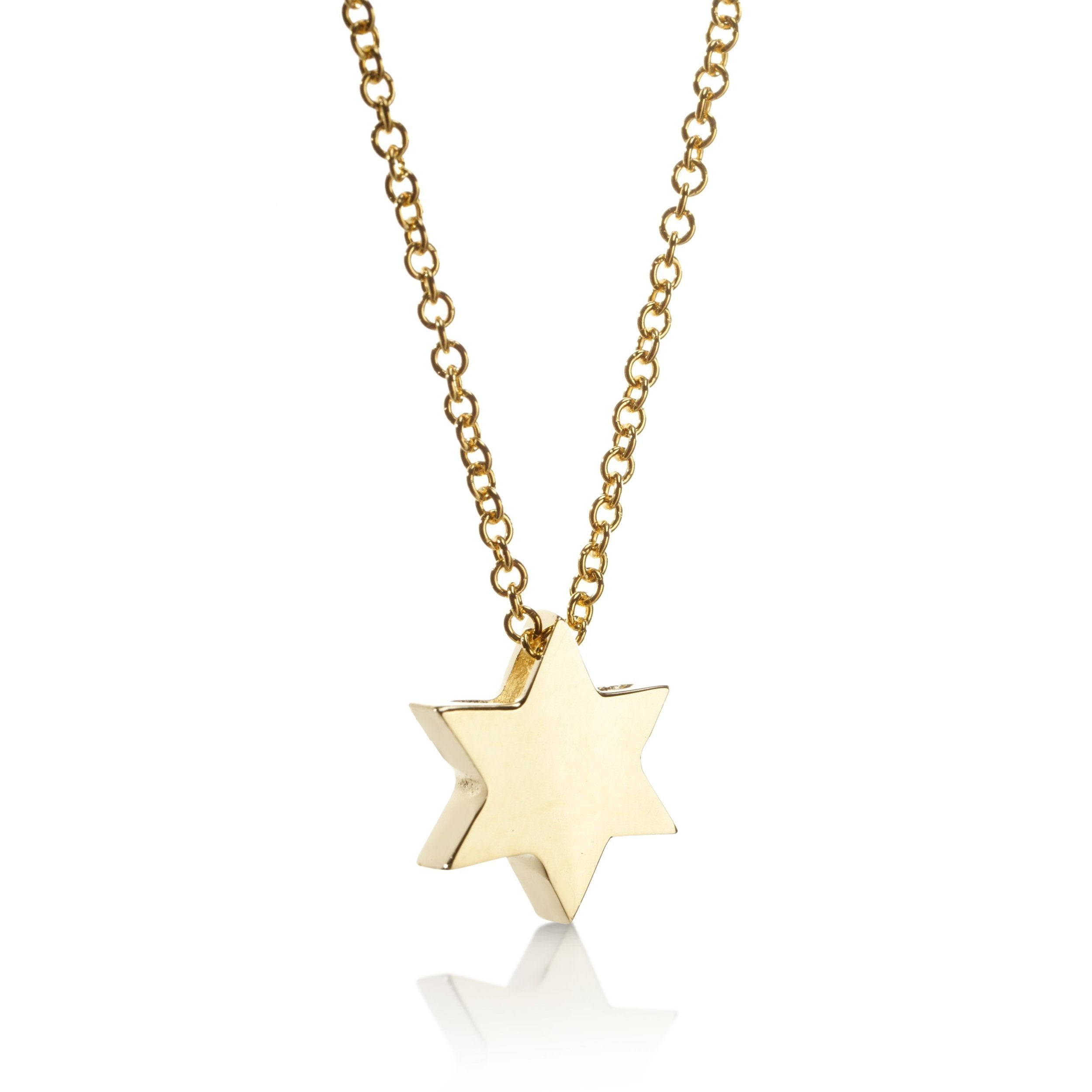 jewish star of david gold necklace
