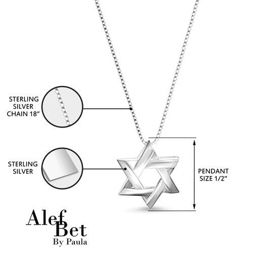 Lineal Jewish Star Necklace