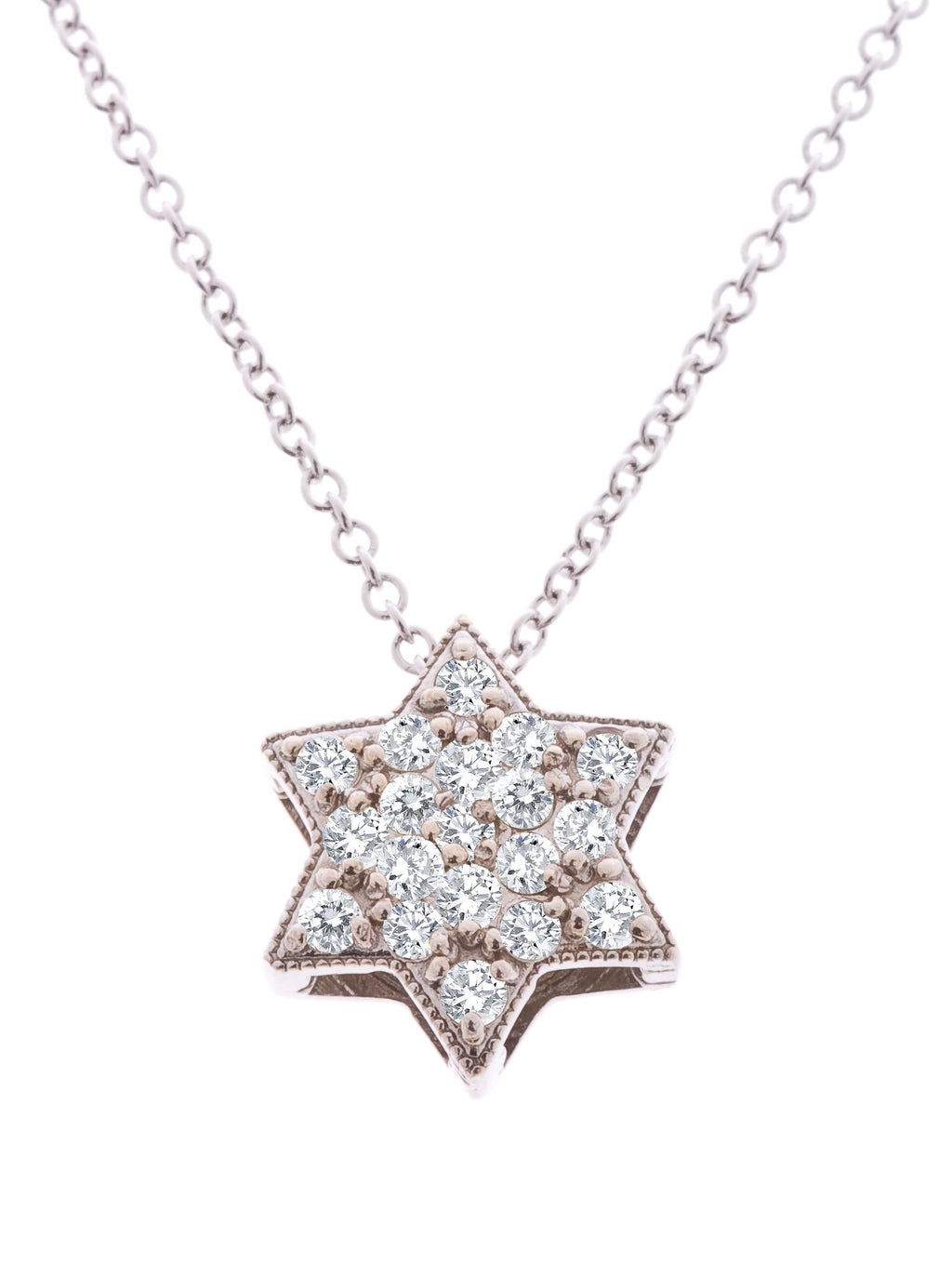 Pave Star of David Necklace in Gold - Alef Bet Jewelry by Paula